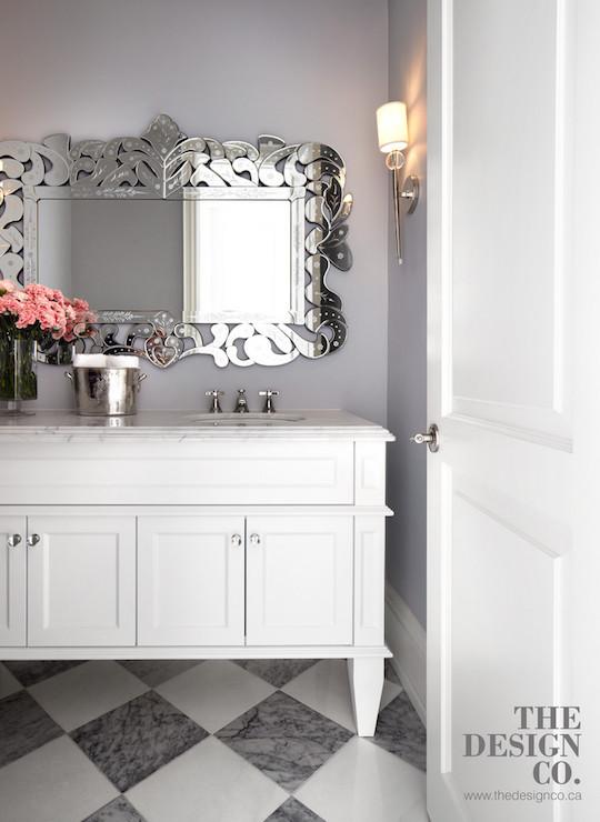 Bathroom with Harlequin Tile Floor, Contemporary, Bathroom, The Design Company