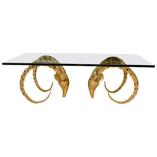1st Dibs Rectangular Brass Rams Head Coffee Table Look for Less