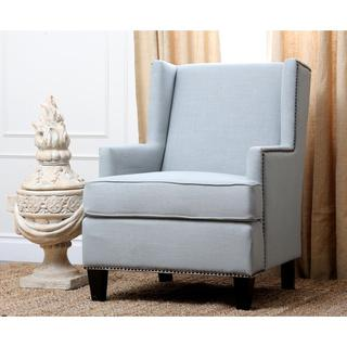 Lorena Fabric Nailhead Trim Light Blue Armchair, Overstock.com