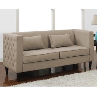 Dune Side-tufted Sofa and Rectangular Pillows Set, Overstock.com