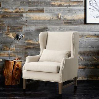 Devon Linen Wing Chair, Overstock.com