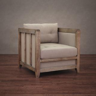 Creston Beige Linen Reclaimed Finish Arm Chair, Overstock.com