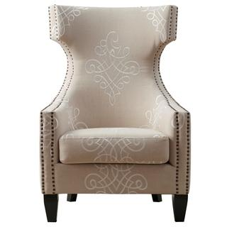 Gramercy Embroidered Linen Wing Chair, Overstock.com