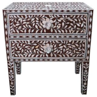 Bone Inlay Bedside Accent Table, Overstock.com