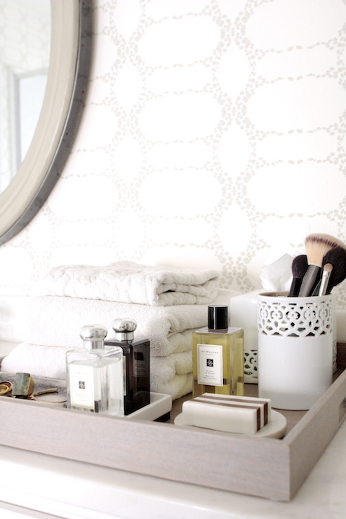 Styled bathroom tray transitional bathroom owens and davis - Bathroom accessories vanity tray ...