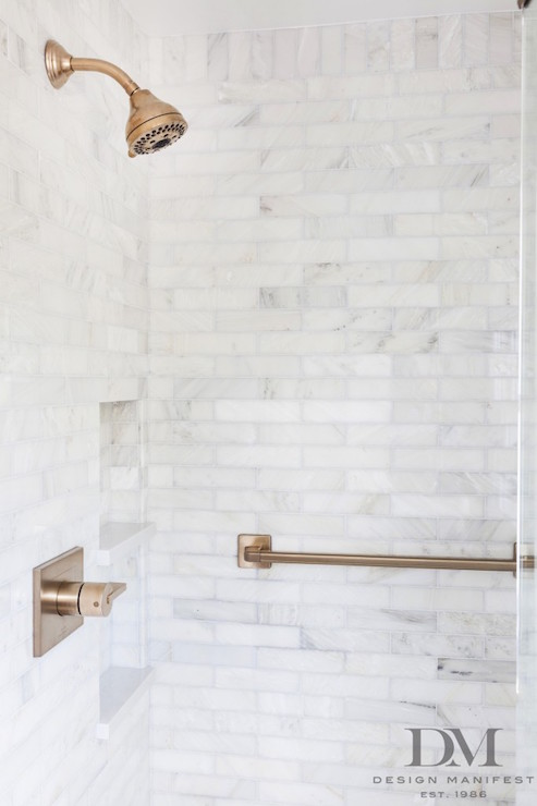 Tiled Shower Niche Transitional Bathroom Design Manifest