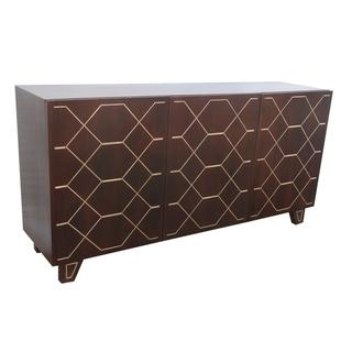 Kota Espresso and Gold Inlay Three Door Sideboard, Overstock.com