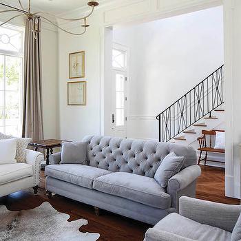 Gray Velvet Tufted Sofa, Transitional, Living Room, Telich Custom Homes