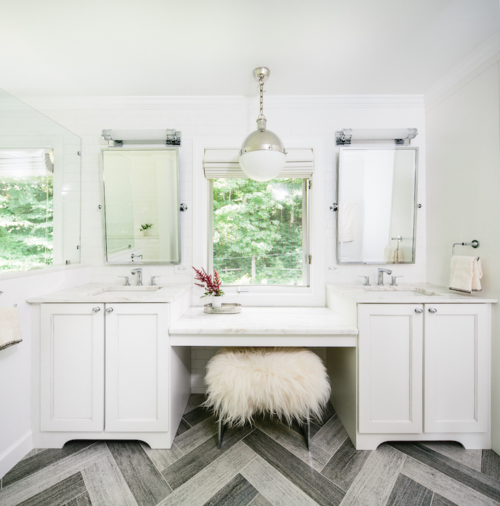 Gray Herringbone Floor Contemporary Bathroom Matthew