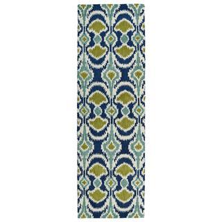 Hand-tufted de Leon Ikat Navy Wool Rug (2'6 x 8'), Overstock.com