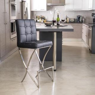 Christopher Knight Home Markson Black Leather Barstool, Overstock.com