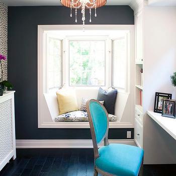 Dormer Window Seat with Bay Windows, Contemporary, Den/library/office, HGTV