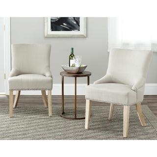 Safavieh Loire Grey Polyester Maple Finish Dining Chairs (Set of 2), Overstock.com
