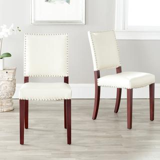 Safavieh Madison Nailhead Cream Leather Side Chairs (Set of 2), Overstock.com