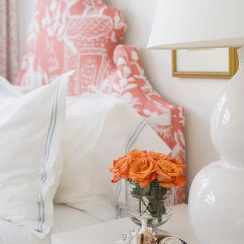 Pink Chinoiserie Headboard, Transitional, Bedroom, J K Kling Associates