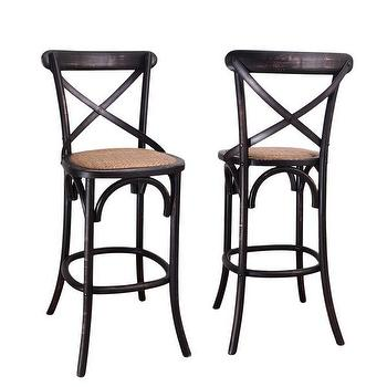 Black Elm Wood Rattan Antique Bistro Bar Stool , Overstock.com Shopping, The Best Deals on Bar Stools