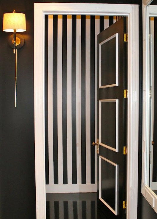 Powder room with black and white stripe walls - Black and white striped wall ...