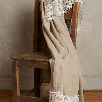 Lace-Trimmed Throw, Embroidered Linen Throw