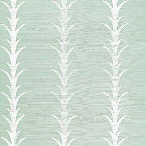 Schumacher Acanthus Stripe Seaglass and Chalk Wallpaper