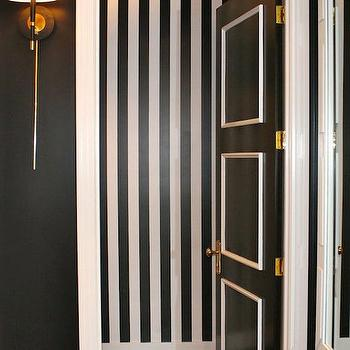 Powder Room with Black and White Stripe Walls, Contemporary, Bathroom