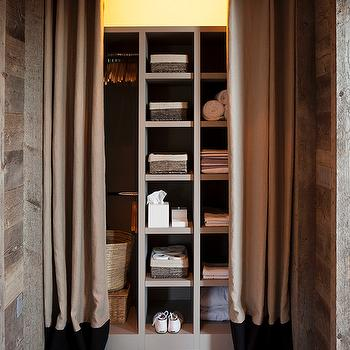 Closet with Curtains, Cottage, Closet, Ken Linsteadt Architects