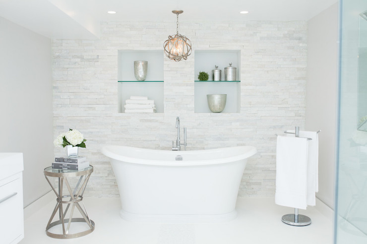 Bathroom With Tiled Accent Wall