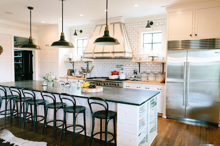 Black Bentwood Barstools Transitional Kitchen Style