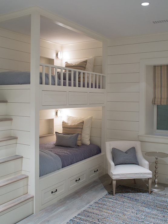 Bunk beds with built in steps transitional boy 39 s room - Built in beds for small spaces decor ...