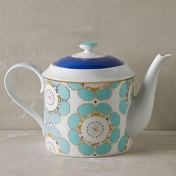 Forbury Serveware, Green and white handmade teapot