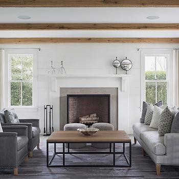 Gray Leather Chairs with Nailhead Trim, Transitional, Living Room, Sophie Metz Design