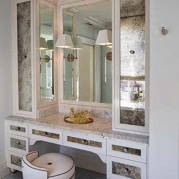 Antiqued Mirrored Cabinets, Contemporary, Closet