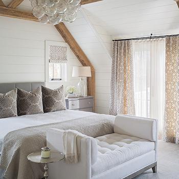 Bedroom with Rustic Wood Beams, Transitional, Bedroom, Sophie Metz Design