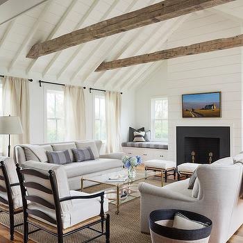 Fireplace Between Window Seats, Transitional, Living Room, Benjamin Moore White Dove, Sophie Metz Design