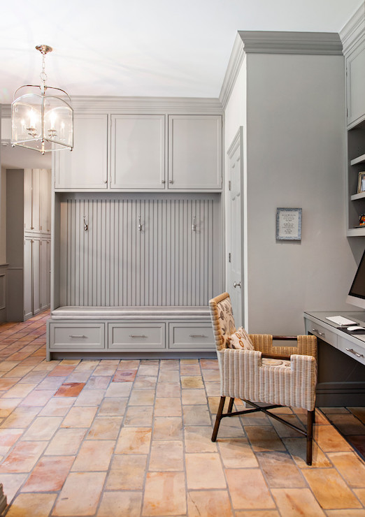 Painting kitchen cabinets grey - Gray Mudroom Cabinets With Beadboard Trim Transitional