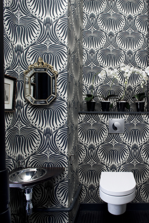 Powder room with black and white wallpaper contemporary for Dark bathroom wallpaper