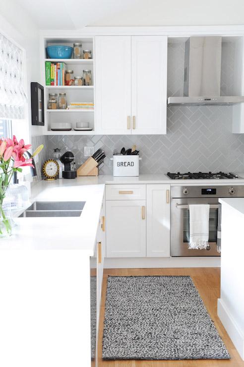 Gray Herringbone Subway Tiles Transitional Kitchen