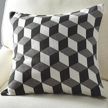 Gray Cube Pillow Cover, Greyed Cube Pattern