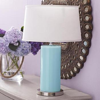 Arctic Blue Table Lamp, Bullet Glass Table Lamp
