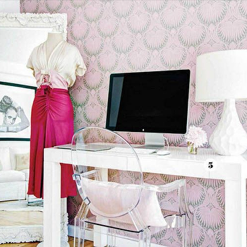 Pink and Gray Lotus Wallpaper, Transitional, Den/library/office, Style at Home
