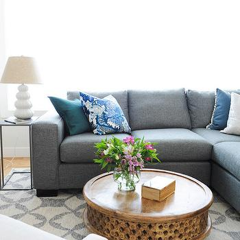 Gray Linen Sectional with Blue PIllows, Contemporary, Living Room, Oliver and Simon Design