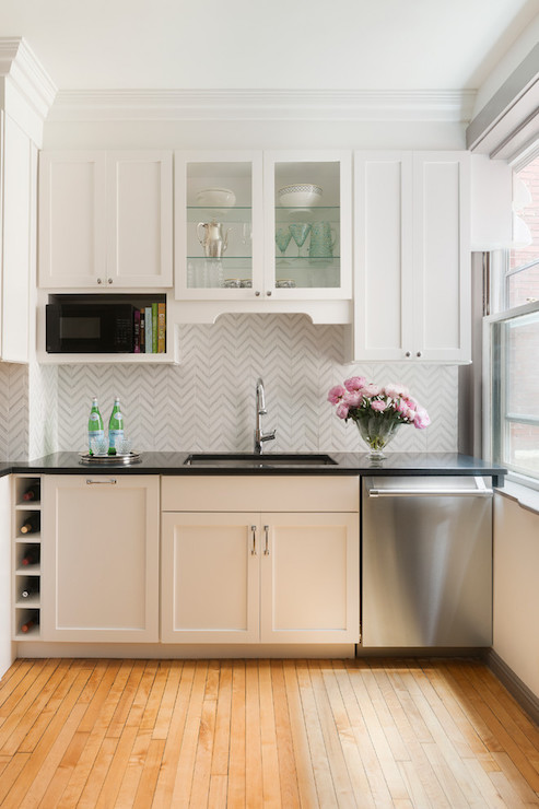 Over The Counter Microwave Nook Transitional Kitchen
