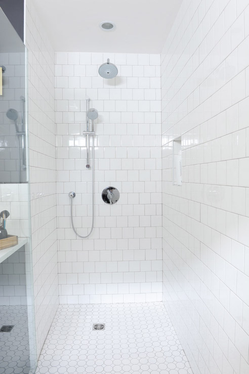 Polished nickel bathroom mirrors - Shower With Square Tiles Transitional Bathroom