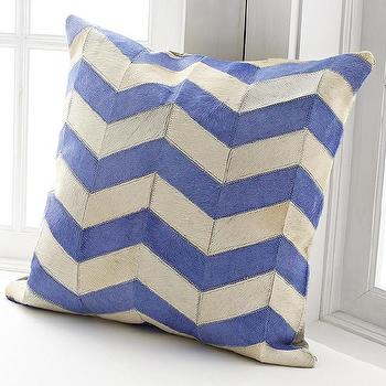 Blue Chevron Cowhide Pillow Cover