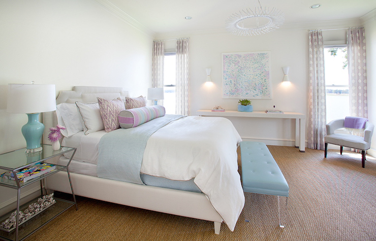 Turquoise Lucite Bench Contemporary Bedroom Tracy