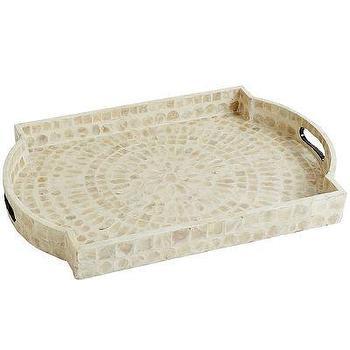 White Capiz Flare Engineered Hardwood Tray