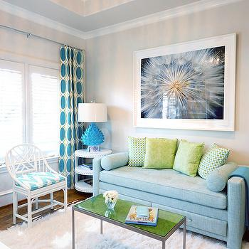 Blue Linen Settee, Contemporary, Living Room, Tracy Hardenburg Designs