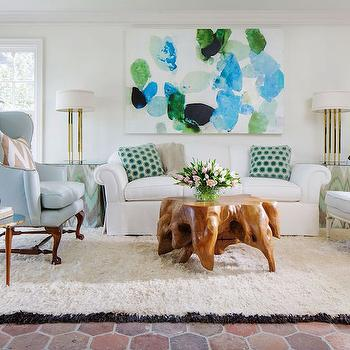 White Rug With Black Fringe Eclectic Living Room