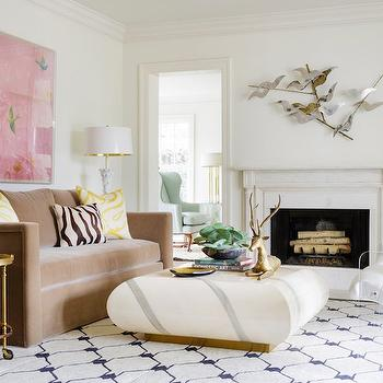 Mink Brown Velvet Sofa, Contemporary, Living Room, Carrie Hatfield Interior Design