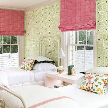 Pink Roman Shades, Transitional, Girl's Room, Carrie Hatfield Interior Design