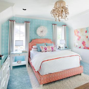 Red and Turquoise Blue Kids Room, Contemporary, Girl's Room, Tracy Hardenburg Designs